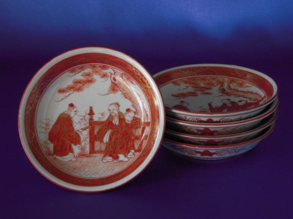 Photo1: Set of five small plate with design of the two wise men and China child, Kutani porcelain (1)
