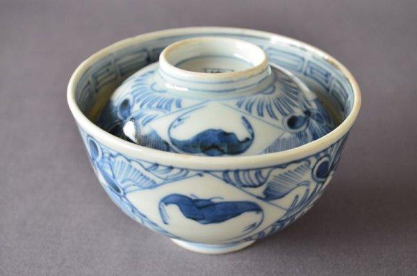 Photo1: Rice bowl with design of bat, Old Imari porcelain (1)