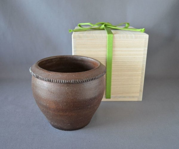 Photo1: Seed Jar, Bizen stoneware (1)