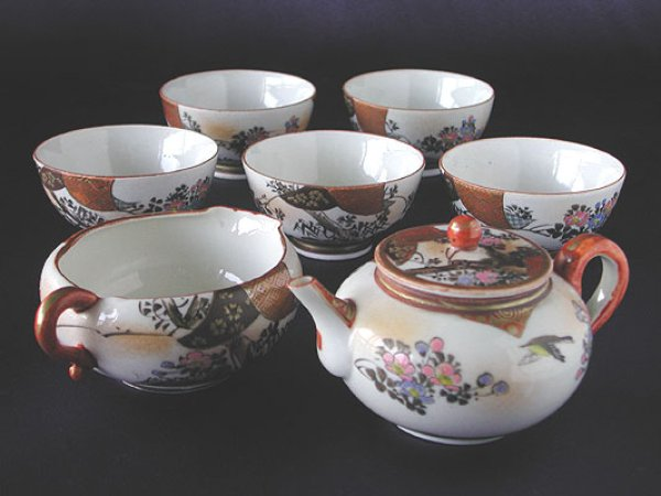 Photo1: Tea set with design of bird and flowers, Kutani porcelain (1)