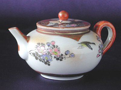 Photo1: Tea set with design of bird and flowers, Kutani porcelain