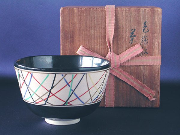Photo1: Chawan with design of departure from port by the 16th Sokuzen Eiraku, Kyoto pottery (1)