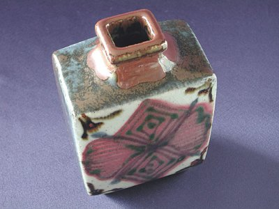Photo2: Moulded stoneware vase with floral pattern by Takeichi Kawai