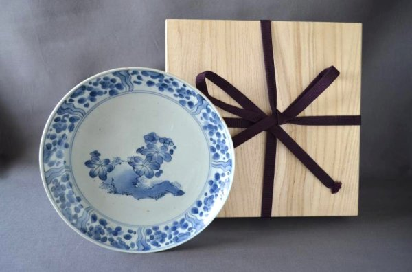 Photo1: Plate with design of rock and flowers, Blue Old Kutani Style, Old Imari porcelain (1)