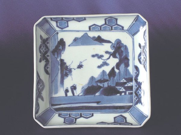 Photo1: Square plate with design of landscapes, Old Imari porcelain (1)