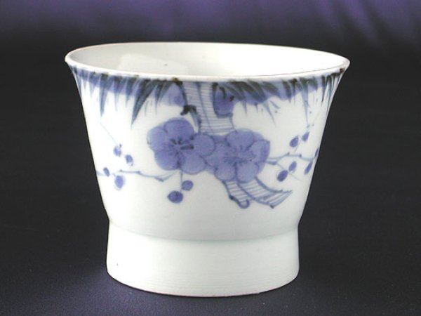 Photo1: Soba soup cup with design of Japanese bush warbler and plum, Old Imari porcelain (1)