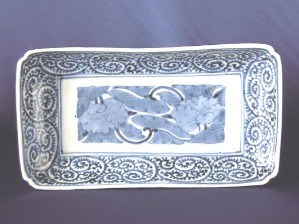 Photo1: Long plate with design of peonies and arabesque pattern, Old Imari porcelain (1)