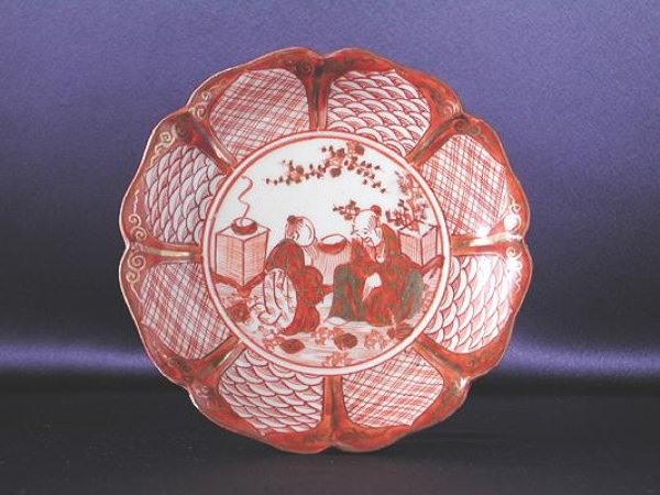 Photo1: Small plate with design of the two wise men, Kutani porcelain (1)