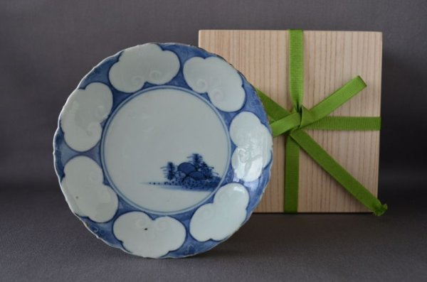 Photo1: Small plate with design Nyoi head and landscape, Blue Old Kutani Style, Old Imari porcelain (1)