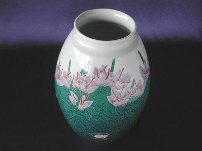 Photo1: Vase with design of saffrons and sparrow by Kazunori Takegoshi, Kutani porcelain