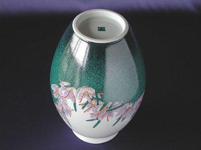 Photo2: Vase with design of saffrons and sparrow by Kazunori Takegoshi, Kutani porcelain